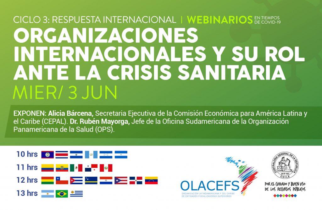 Invitación a la séptima sesión de #WebinariosCOVID19 para conversar sobre el rol de las Organizaciones Internacionales en la pandemia