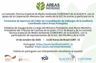 COMTEMA invita a participar en la sesión de inauguración del Taller Virtual de Consolidación de la Auditoría Coordinada sobre Áreas Protegidas